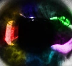 A closeup of a woman's eye with a rainbow of colors